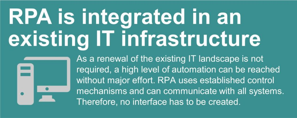 RPA is integrated in an existing IT infrastructure